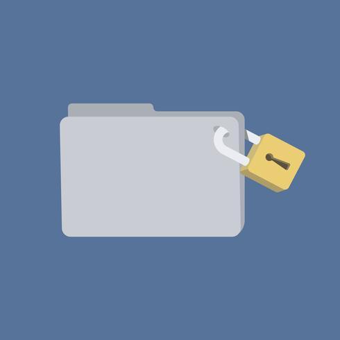 Carpeta de base de datos con ilustración de bloqueo de seguridad