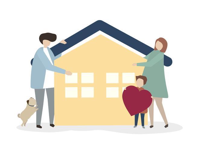 Illustration d'une famille heureuse et en bonne santé