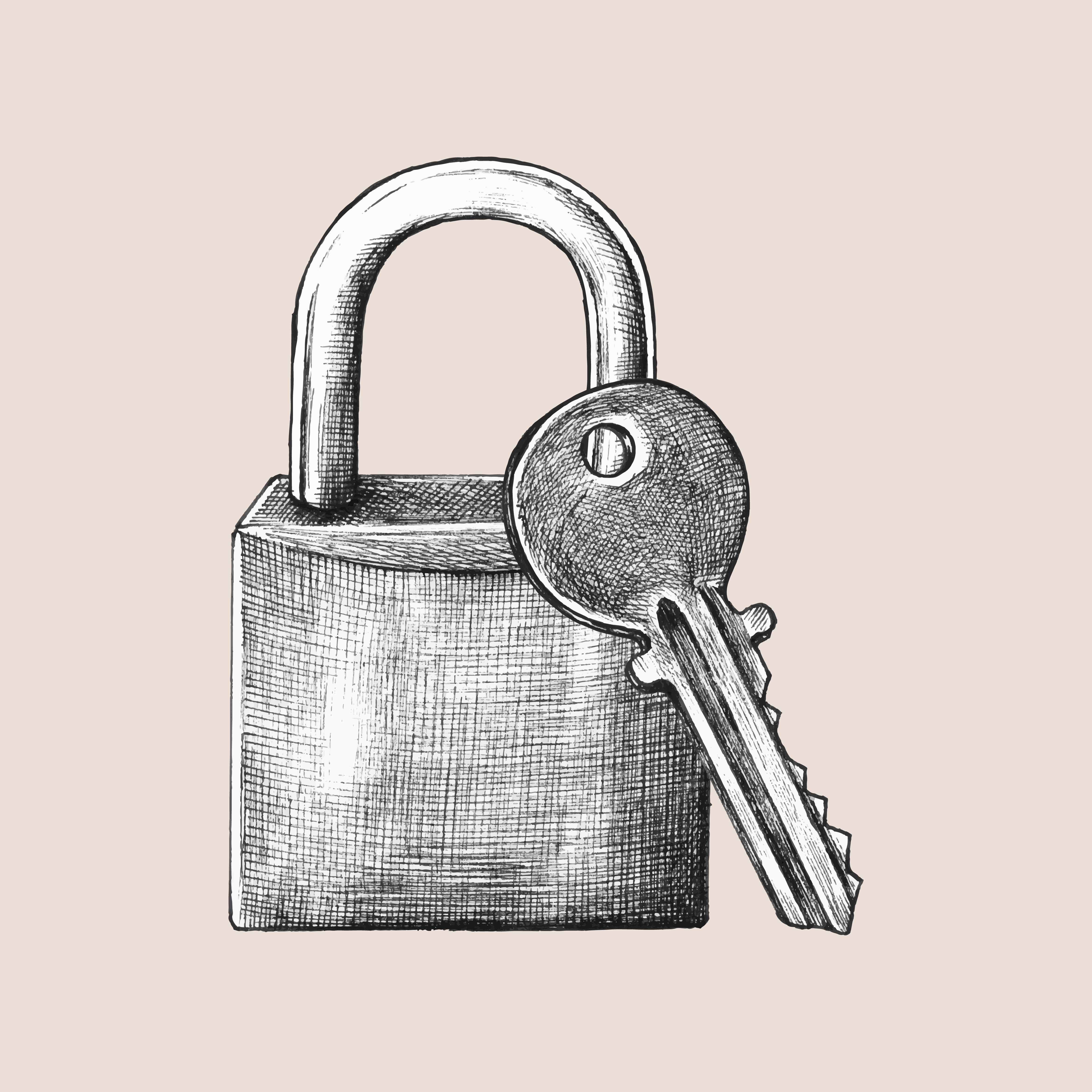 Vector Key Illustration: Hand-drawn Lock And Key Illustration