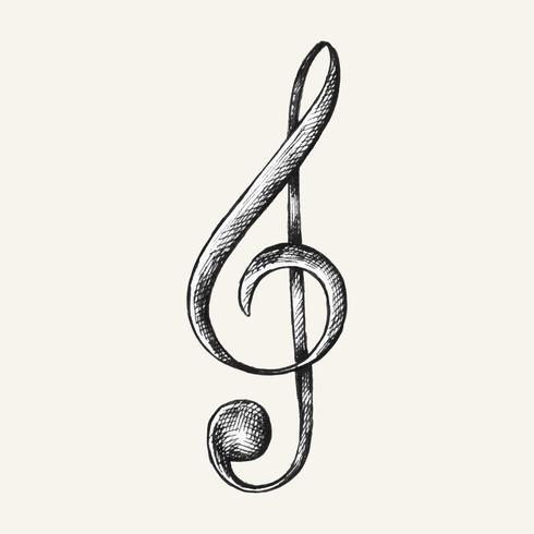 Handgetekende G-clef muziek opmerking illustratie
