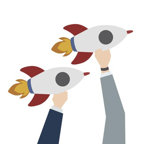 Illustration of launching business rockets