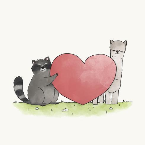 Waschbär und Lama verliebt