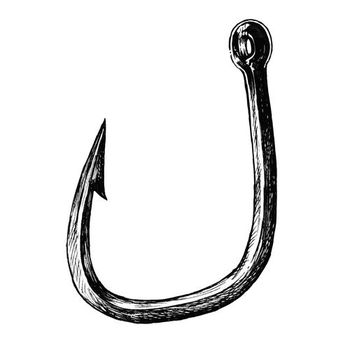 Hand drawn fish hook isolated