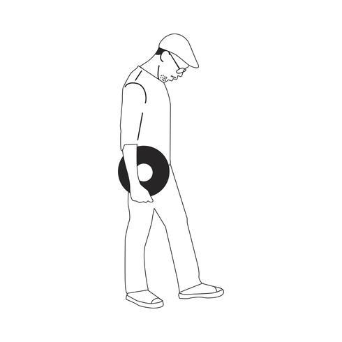 Geïllustreerde man die klassiek vinylverslag houdt