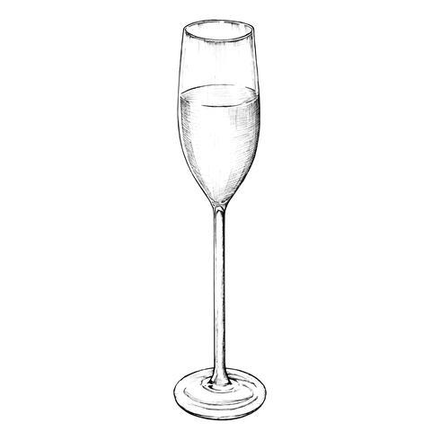 Verre de champagne dessiné à la main