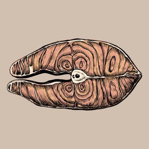 Filete de pescado dibujado a mano