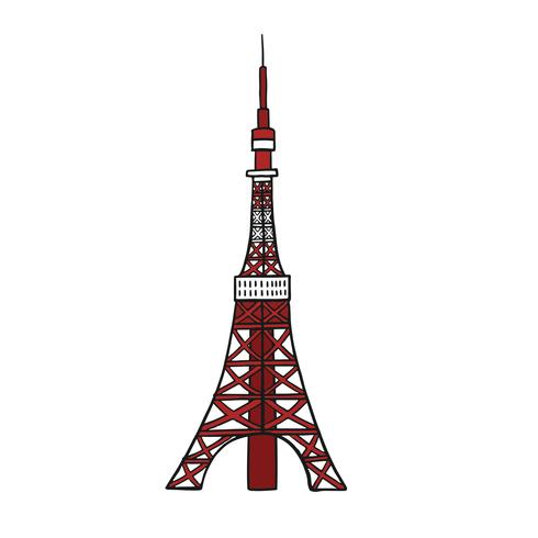 The famous Tokyo tower illustration
