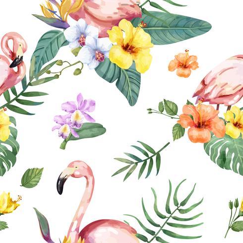 Hand drawn flamingo bird with tropical flowers