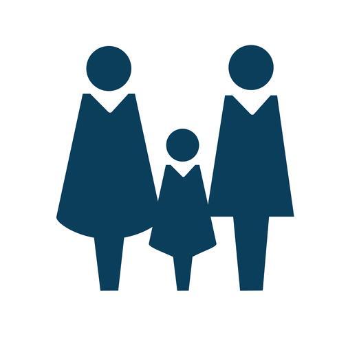 Ilustración de pictograma de icono de personaje familiar