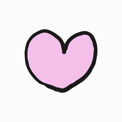 Hand getekend roze hart illustratie