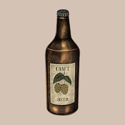 Ilustración de una botella de cerveza artesanal
