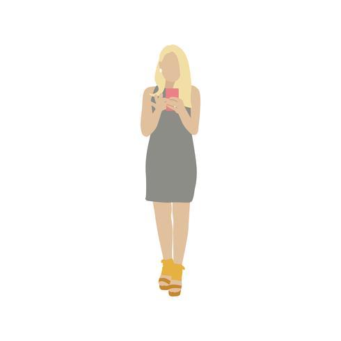 Illustrerad kvinna med mobiltelefon