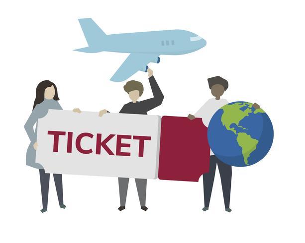 Ilustração de bilhete de avião de viagens do mundo