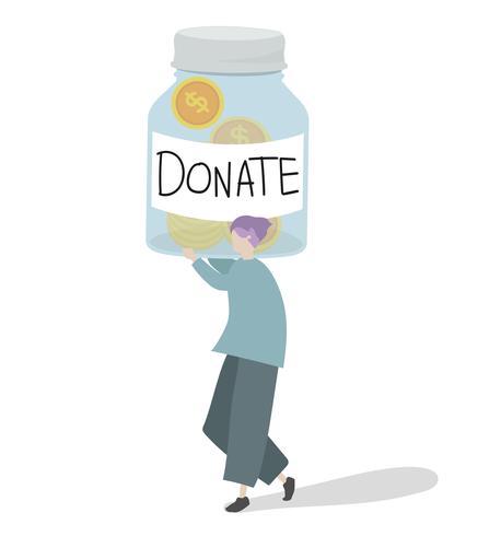 Illustration d'un personnage donnant de l'argent