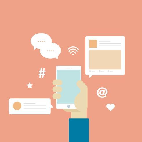 Vector de iconos de redes sociales de comunicación.