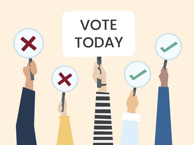 Die Hände, die Abstimmungikone zeigen, verschalt Illustration