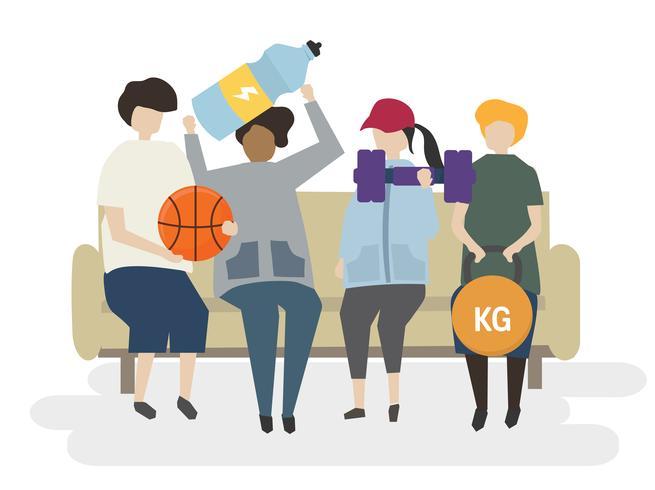 Grupo de personas que ejercitan la ilustración