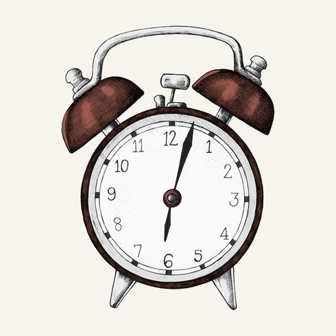 Handgetekende wekker illustratie