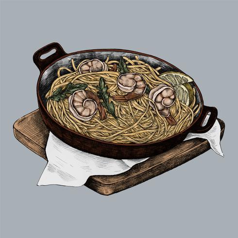 Illustration of a seafood pasta