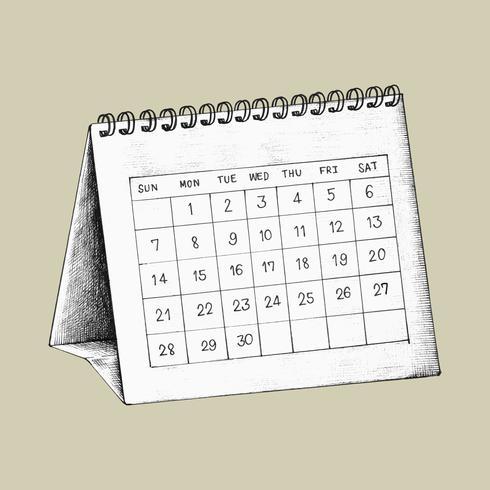 Illustrazione di calendario scrivania disegnata a mano