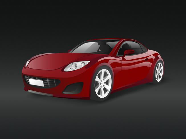 Red sports car in a black background vector