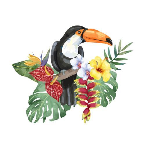 Hand getrokken toekan vogel met tropische bloemen