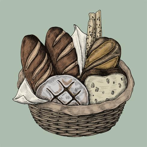 Illustration av en brödkorg