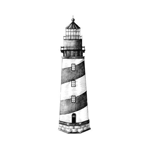 Hand drawn lighthouse isolated on white background
