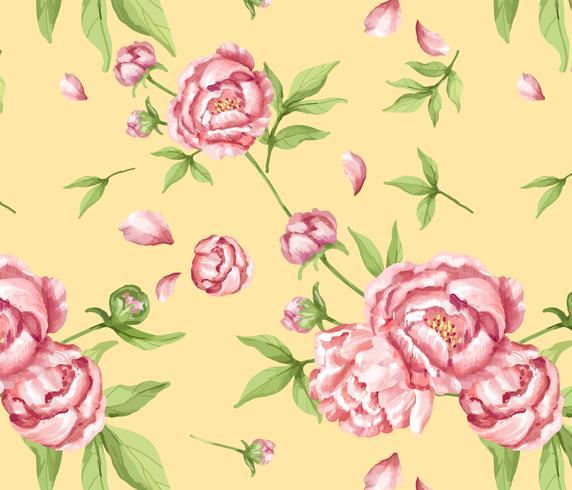 Motif de pivoine rose dessiné à la main