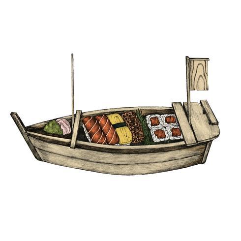 Illustration av japansk maträtt