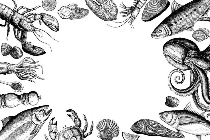 Hand gezeichnet vom Meeresfrüchtekonzept