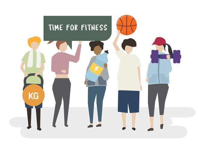 Tijd voor fitness illustratie