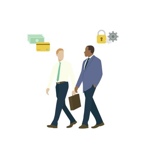 Homens de negócios ilustrados falando sobre segurança bancária on-line