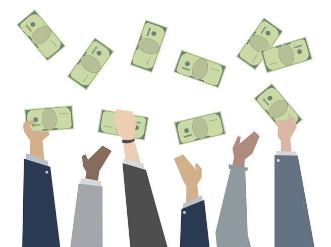 Ilustración de manos sosteniendo el papel moneda