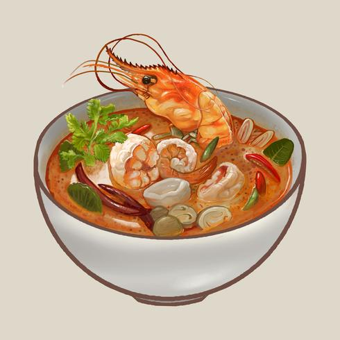 Tom Yum Kung soppa illustration