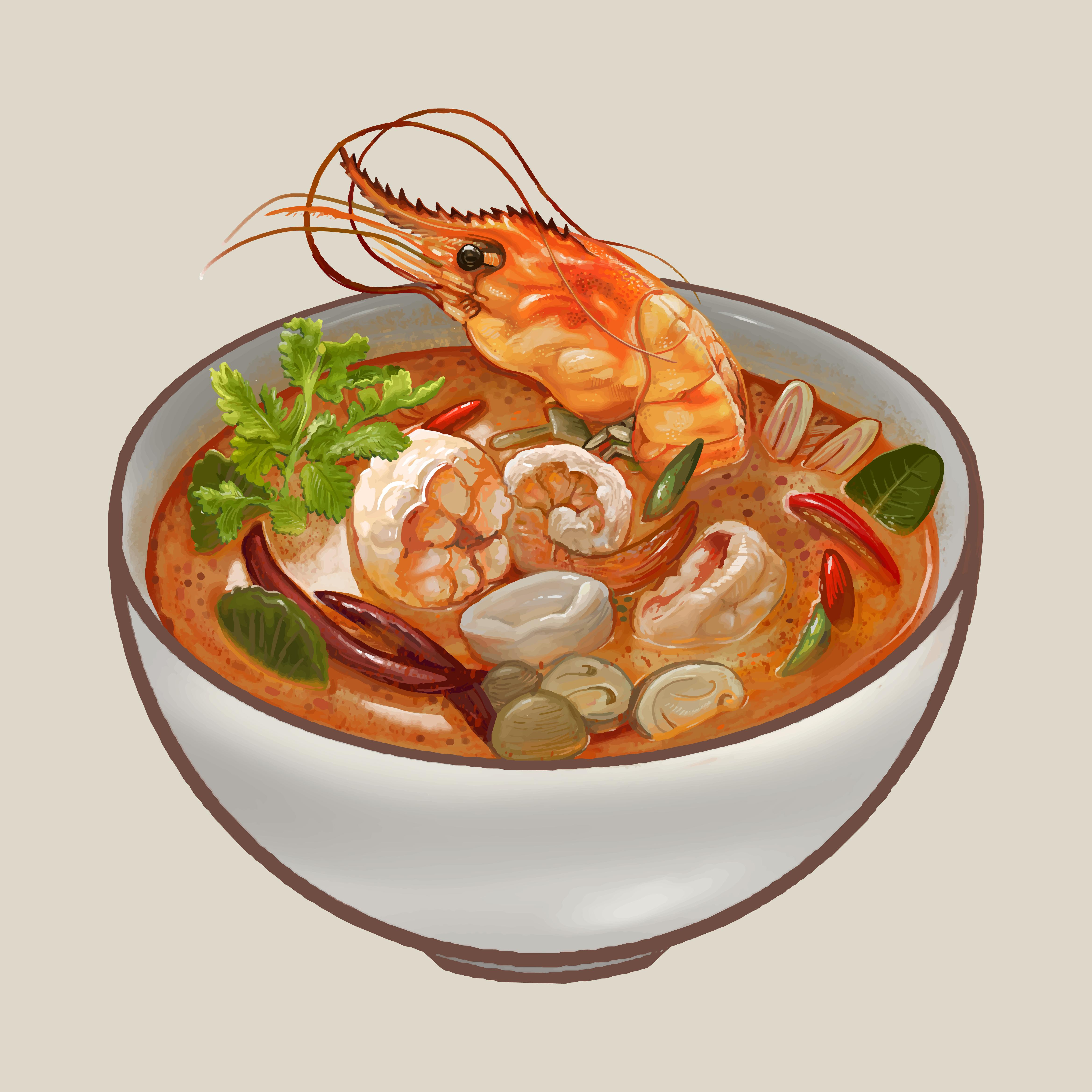 Tom Yum Kung Soup Illustration