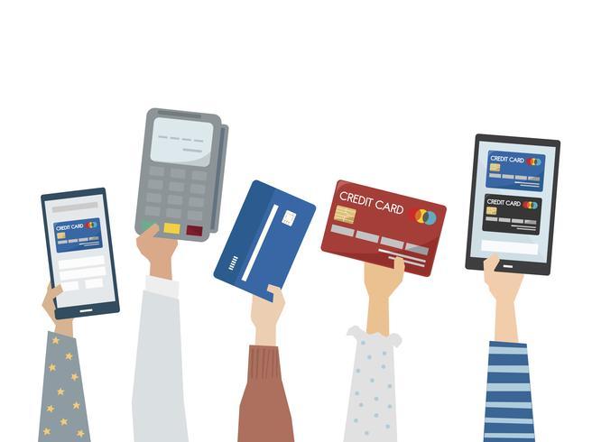 Illustrazione del pagamento online con carte di credito