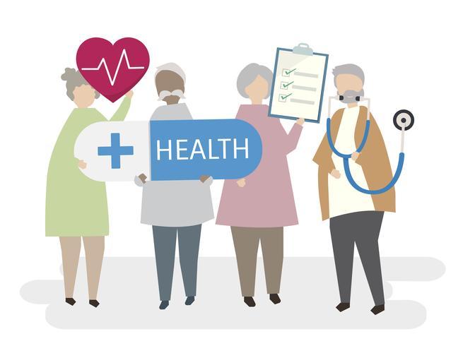 Illustrated seniors focusing on health