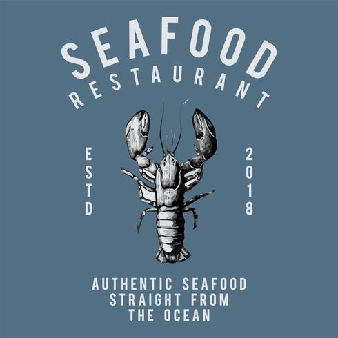Seafood restaurang logo design vektor