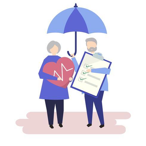 Caractères d'un couple de personnes âgées et illustration de l'assurance maladie