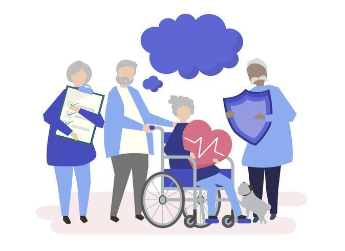 Tecken på senior människor som håller hälsovård ikoner illustration