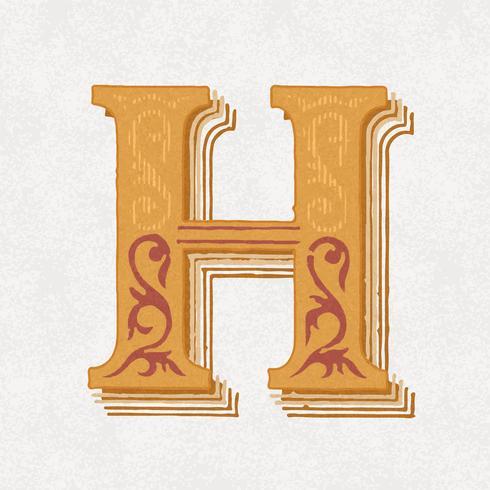 Style de typographie vintage majuscule H