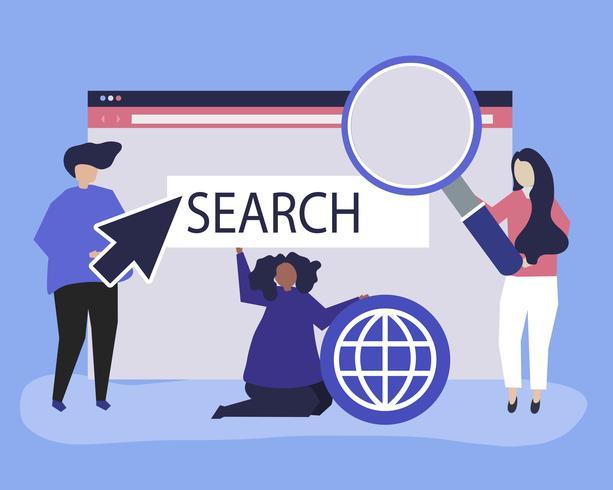 Caracteres de personas con ilustración de iconos de búsqueda de internet