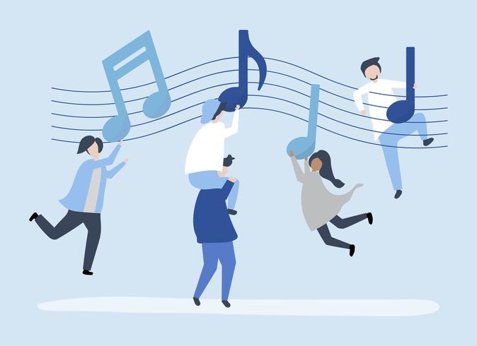 Pessoas dançando a música com notas musicais flutuando no ar