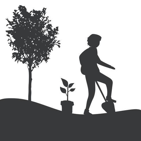 Schattenbild eines Gartenarbeitvektors des Mannes