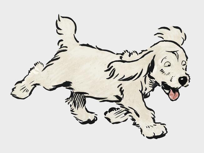 """Das weiße Welpenbuch von Cecil Aldin (1910), ein weißer Hund """"Lumpen"""", der emotional verzweifelt läuft. Digital verbessert durch Rawpixel."""