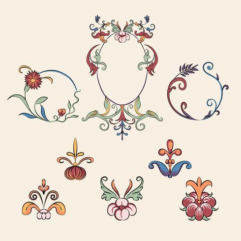 Set d'illustration Vintage florish ornament