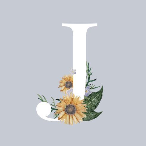 Brev J med blommor