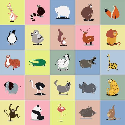 Collection d'illustrations mignonnes d'animaux sauvages