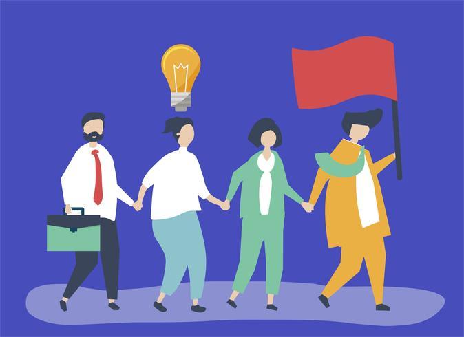 Empresários seguindo o líder para encontrar um novo mercado